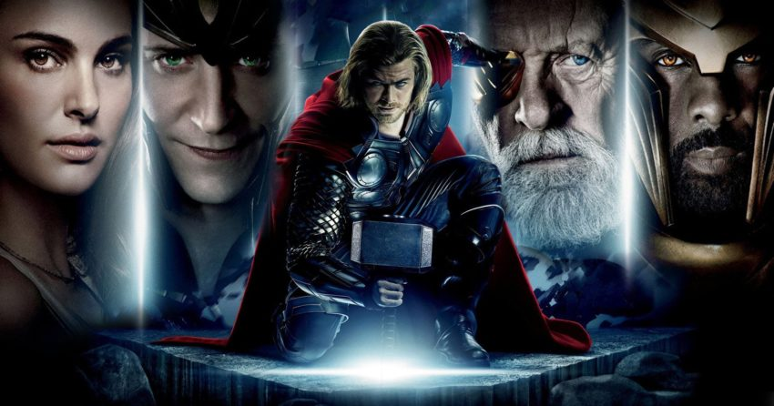 Bannière du film Thor réalisé par Kenneth Branagh avec Chris Hemsworth, Natalie Portman, Anthony Hopkins et Tom Hiddleston