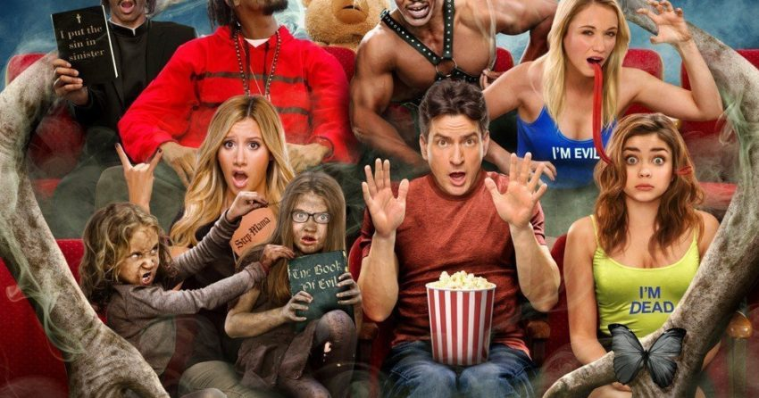 Poster du film Scary Movie 5 réalisé par Malcolm D. Lee avec Charlie Sheen, Ashley Tisdale, Lindsay Lohan, Simon Rex et Snoop Dogg