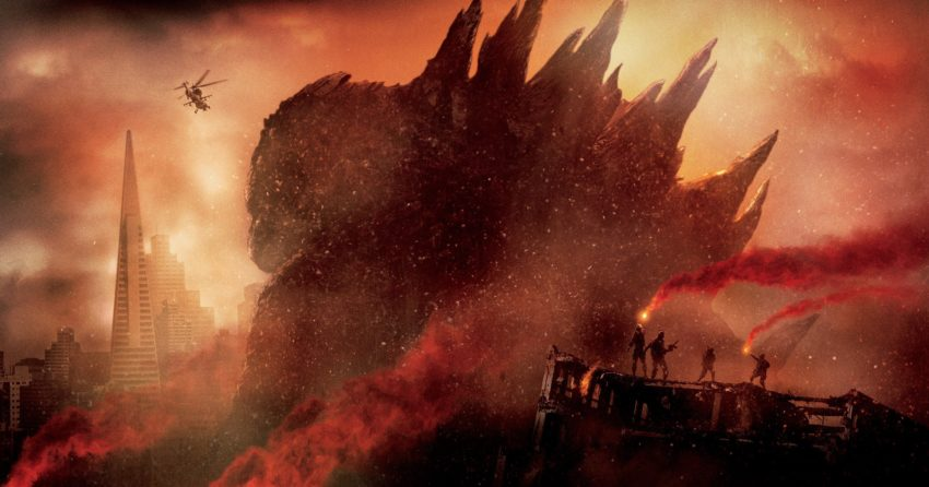 Photo du film Godzilla (2014) réalisé par Gareth Edwards avec le monstre de dos