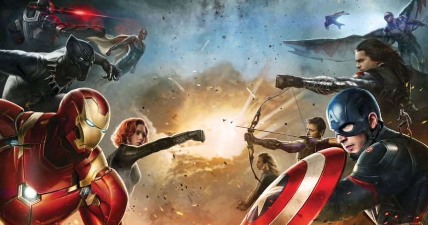 Promo Art pour le film Captain America: Civil War avec la Team Iron Man contre la Team Captain America