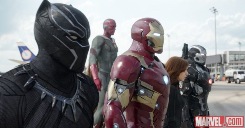 Photo du film Captain America: Civil War avec la Team Iron Man