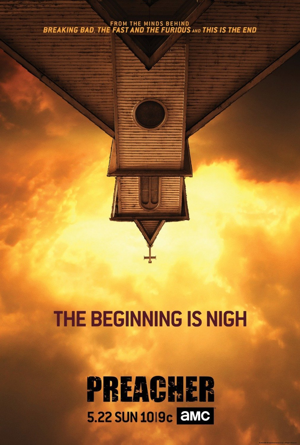 Poster de Preacher avec la tagline The Beginning is nigh