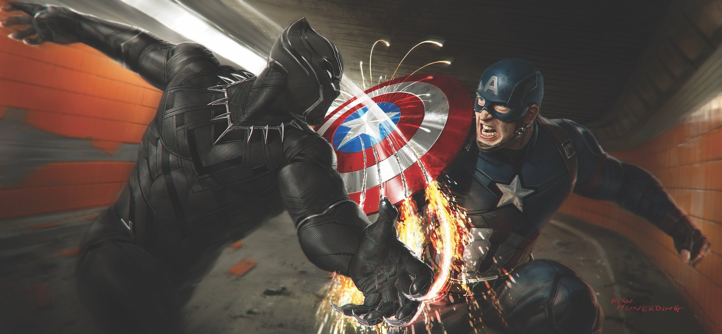 Concept art de Captain America: Civil War avec Black Panther griffant Captain America