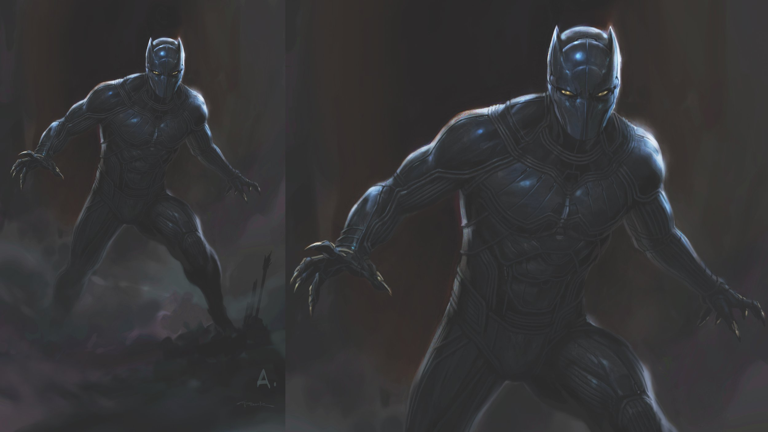 Concept art de Captain America: Civil War avec les costumes alternatifs de Black Panther