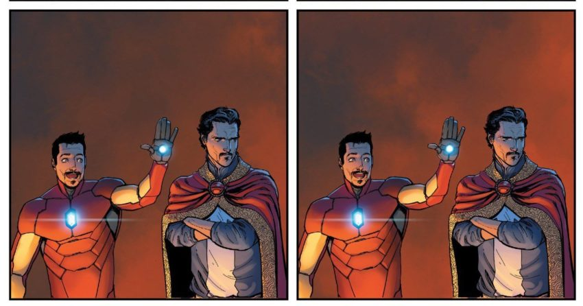 Page d'un comic Marvel avec Iron Man et Doctor Strange faisant un High Five