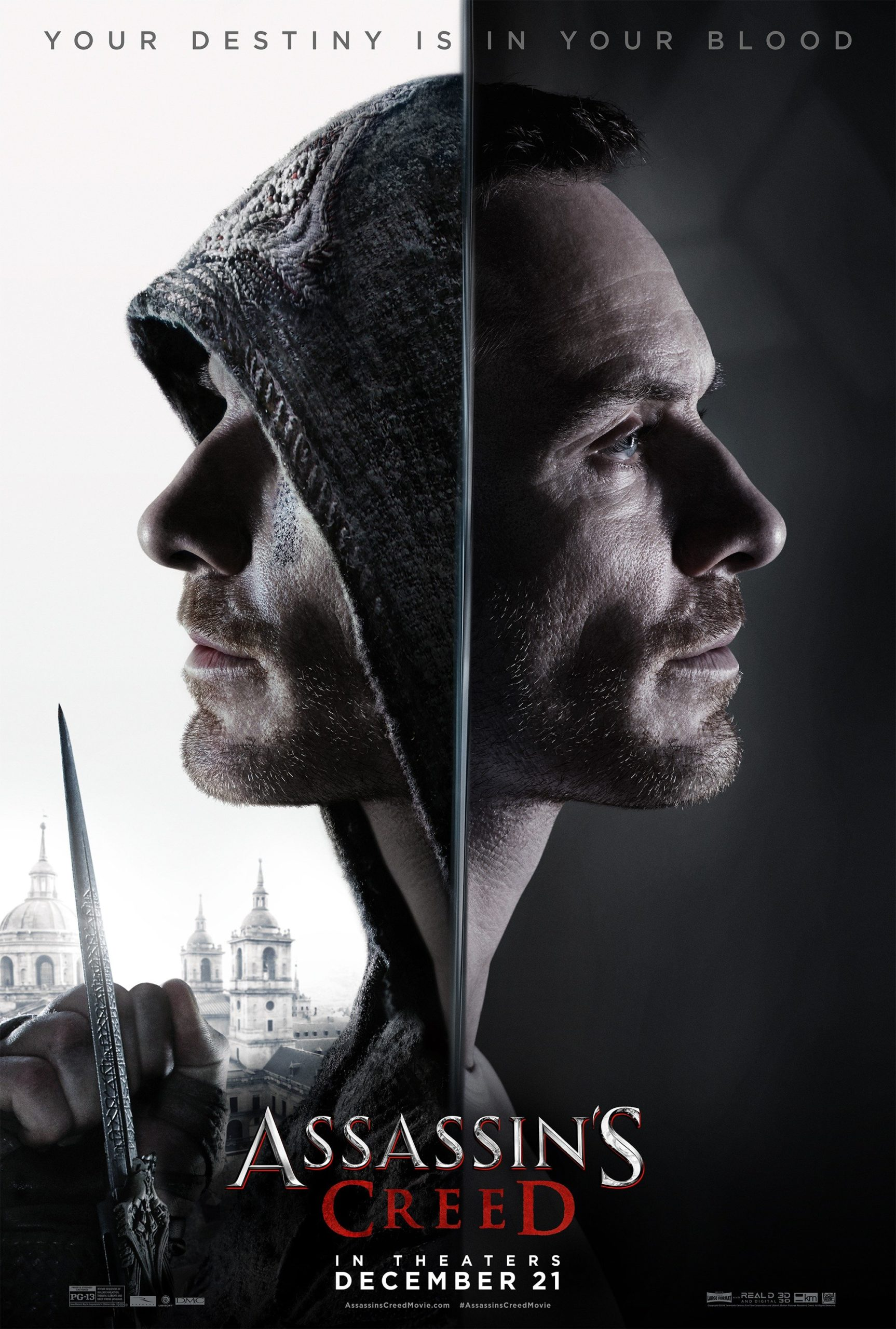 "Poster d'Assassin's Creed avec Michael Fassbender et la tagline ""Your destiny is in your blood"""
