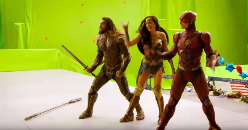 Photo du tournage de Justice League avec Aquaman, Wonder Woman et Flash