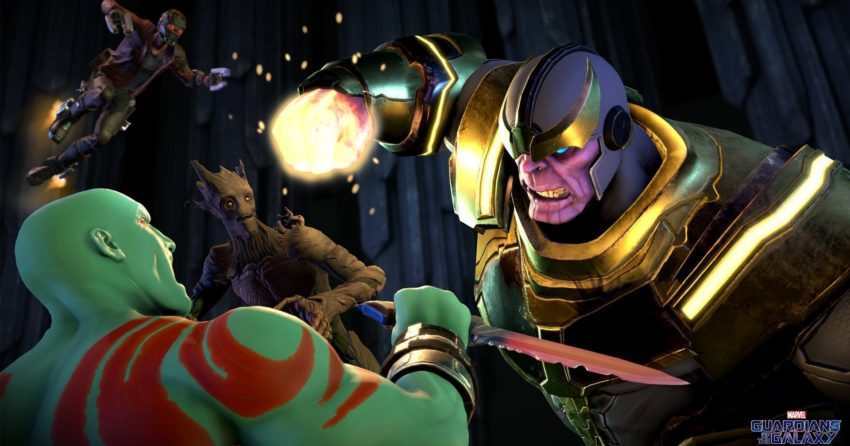 Image de Drax contre Thanos dans le jeu vidéo Guardians of the Galaxy: The Telltale Series