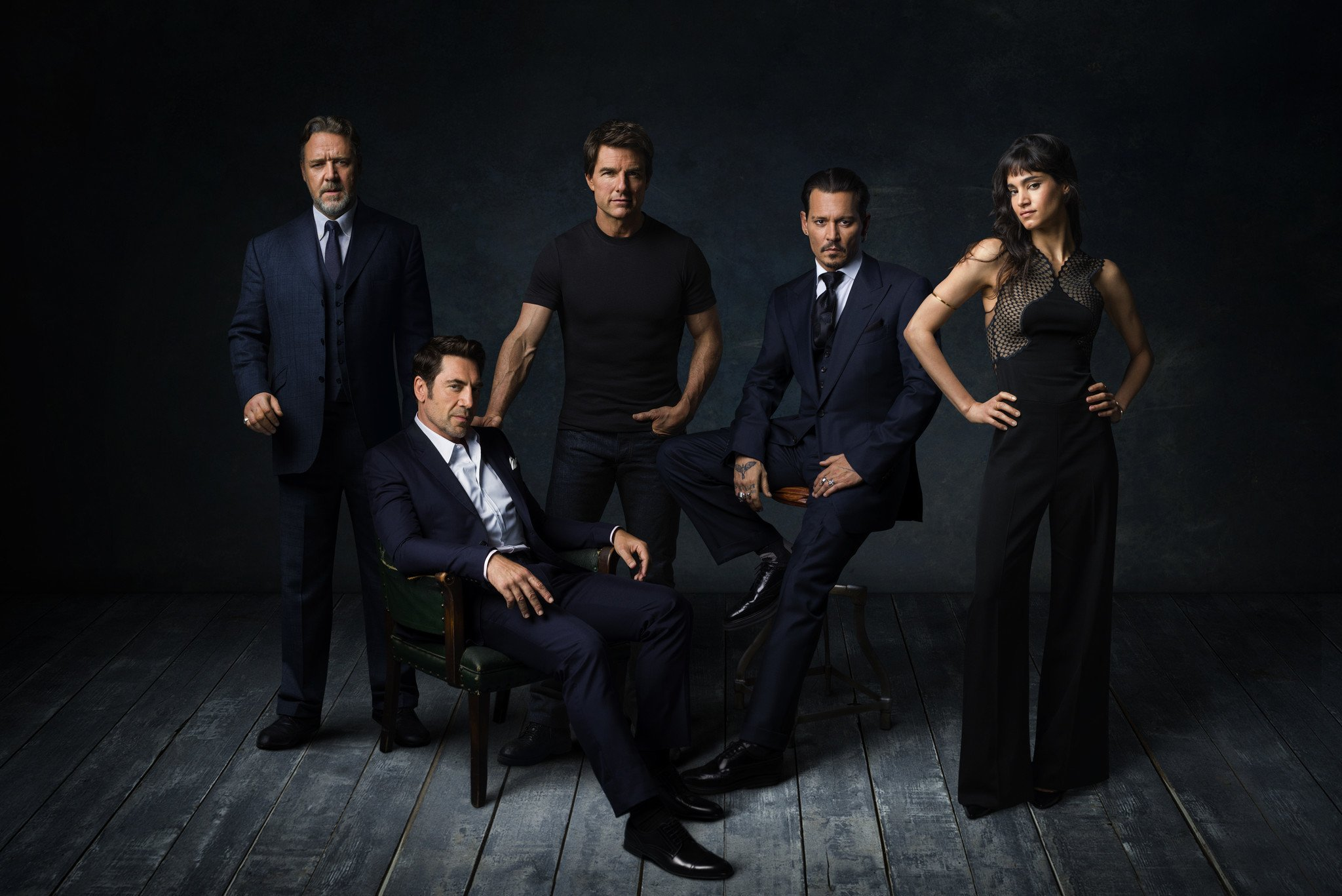 Photo des monstres du Dark Universe avec Russell Crowe, Javier Bardem, Tom Cruise, Johnny Depp et Sofia Boutella