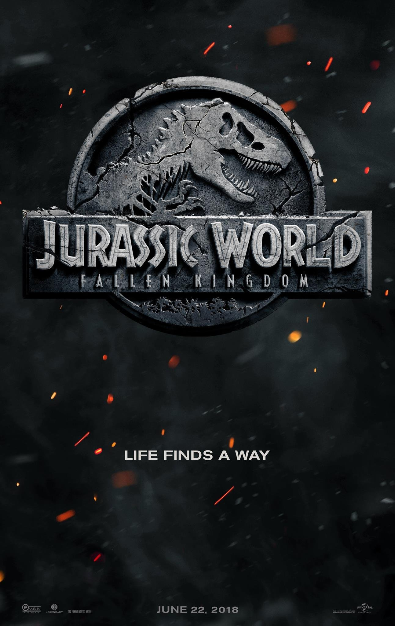 "Poster teaser du film Jurassic World: Fallen Kingdom avec la tagline ""Life finds a way"""