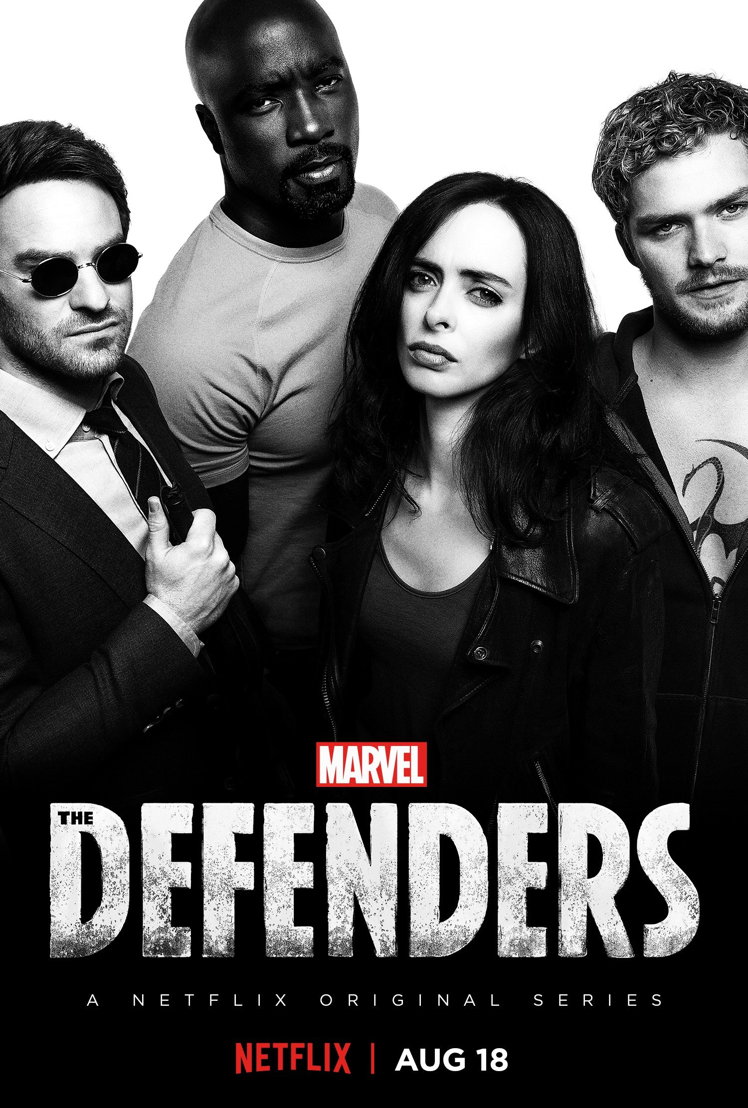 Poster de The Defenders avec Daredevil (Charlie Cox), Luke Cage (Mike Colter), Jessica Jones (Krysten Ritter) et Iron Fist (Finn Jones)