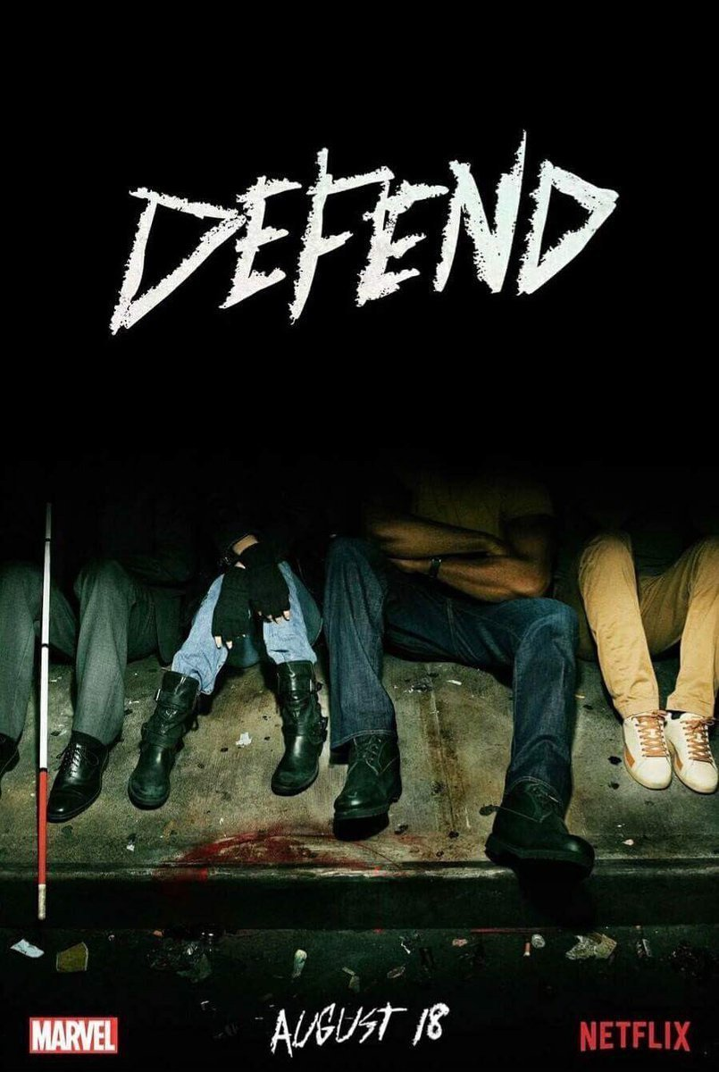 Poster teaser de The Defenders avec les pieds de Daredevil (Charlie Cox), Luke Cage (Mike Colter), Jessica Jones (Krysten Ritter) et Iron Fist (Finn Jones)
