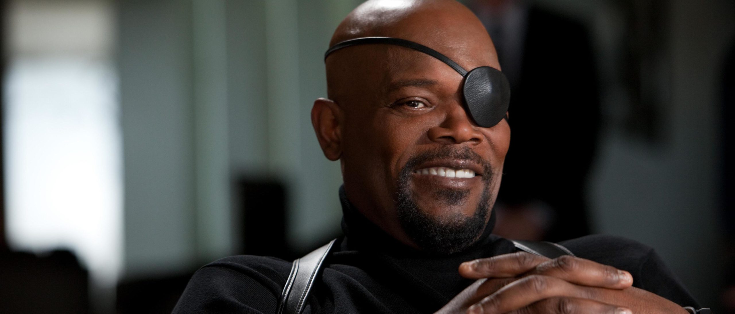 Photo de Samuel L. Jackson (Nick Fury) en train de rire dans Avengers