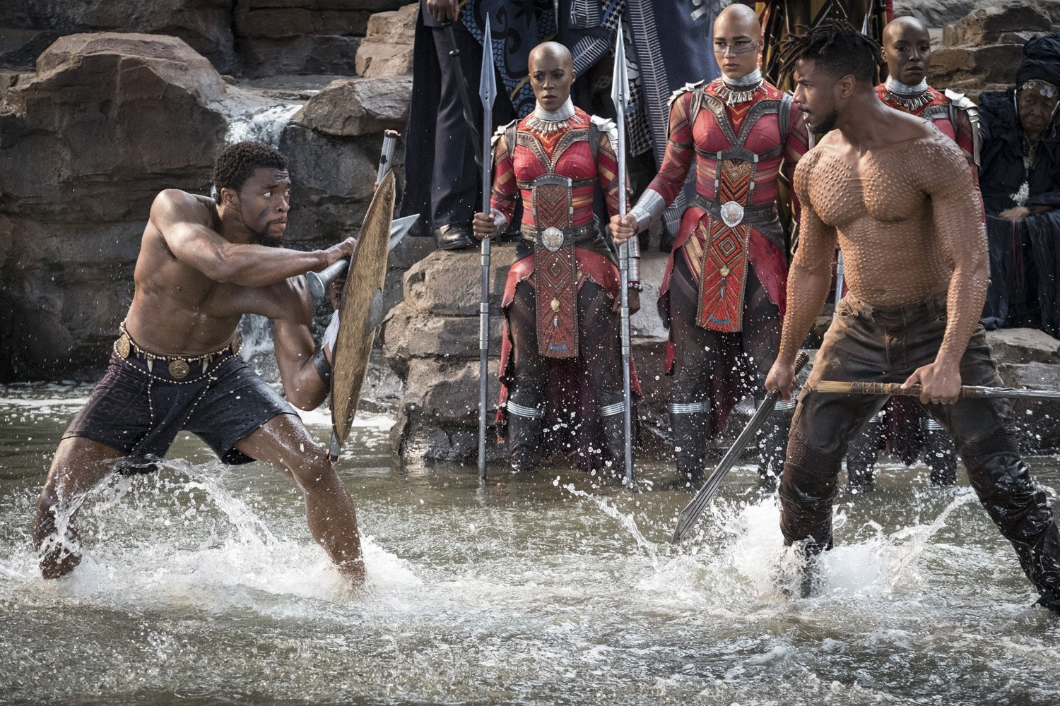 Photo du film Black Panther réalisé par Ryan Coogler avec Chadwick Boseman contre Michael B. Jordan (Warrior Falls)