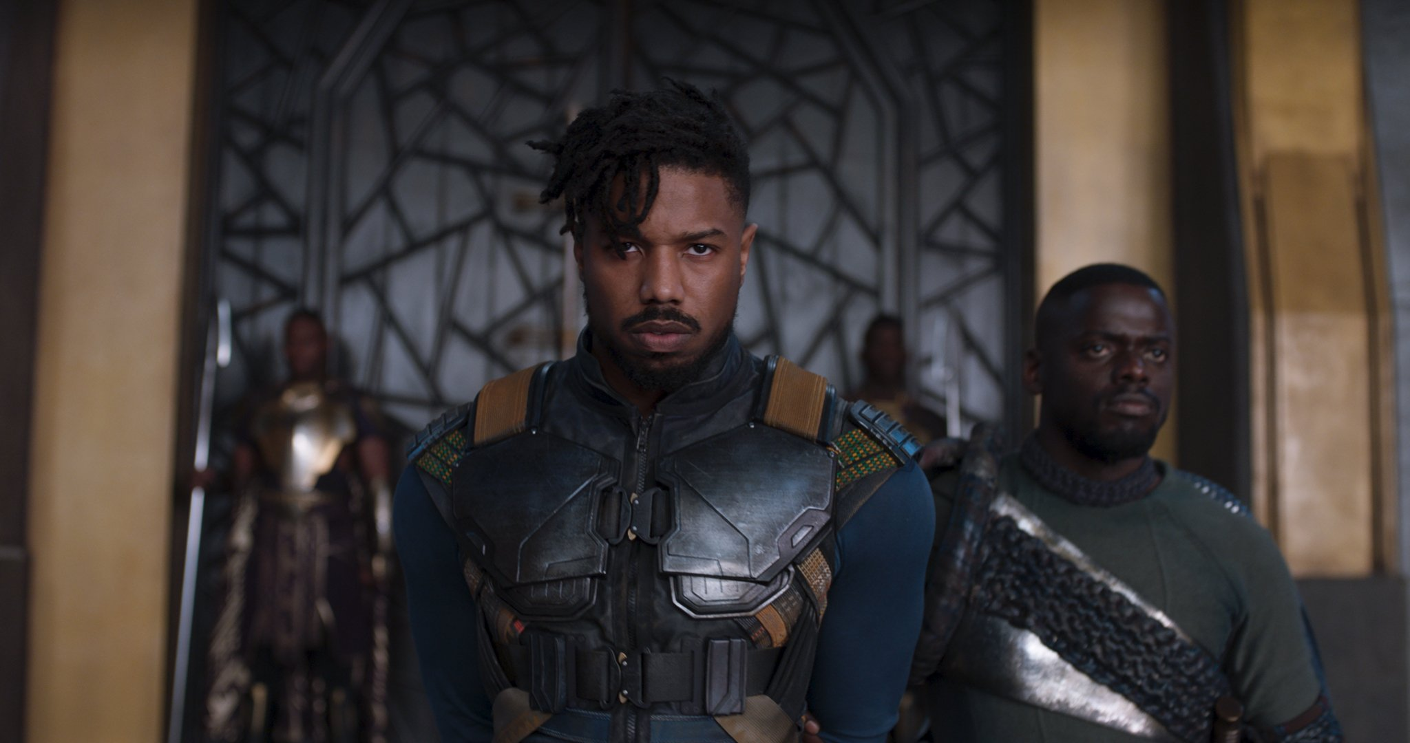 Photo du film Black Panther réalisé par Ryan Coogler avec Killmonger (Michael B. Jordan) en costume
