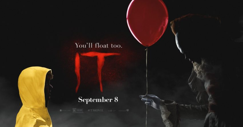 "Bannière du film Ça (It) avec la tagline ""You'll float too"""
