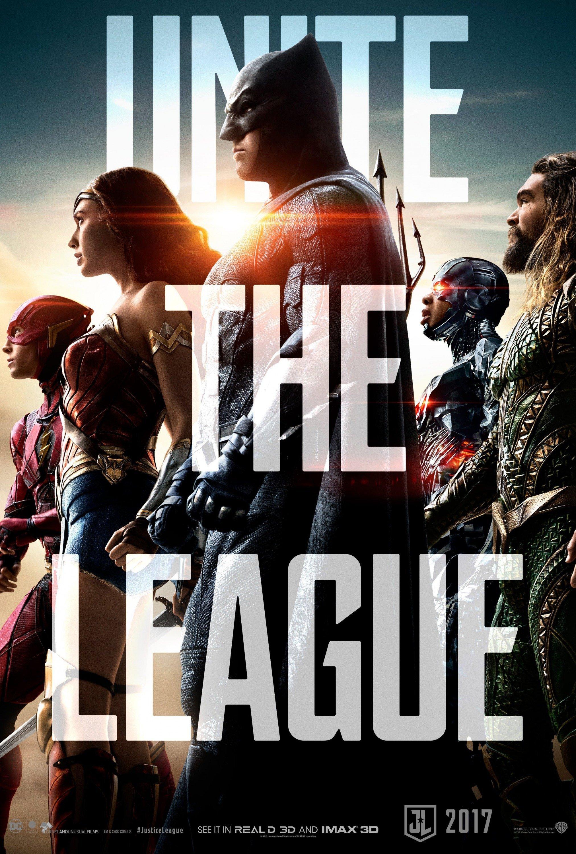 """Poster du film Justice League avec la tagline """"Unite The League"""""""