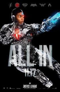 """Poster """"All in"""" du film Justice League avec Cyborg"""