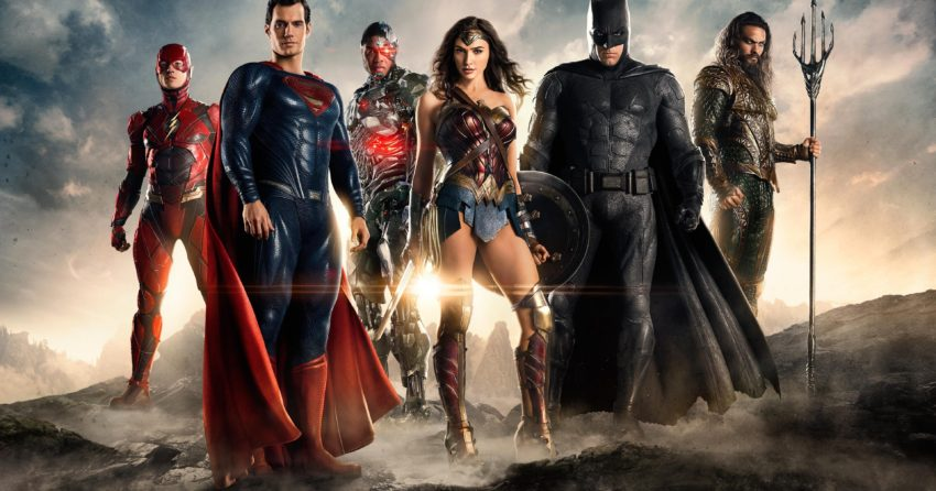 Bannière du film Justice League avec Wonder Woman, Cyborg, Batman, Aquaman, Flash et Superman