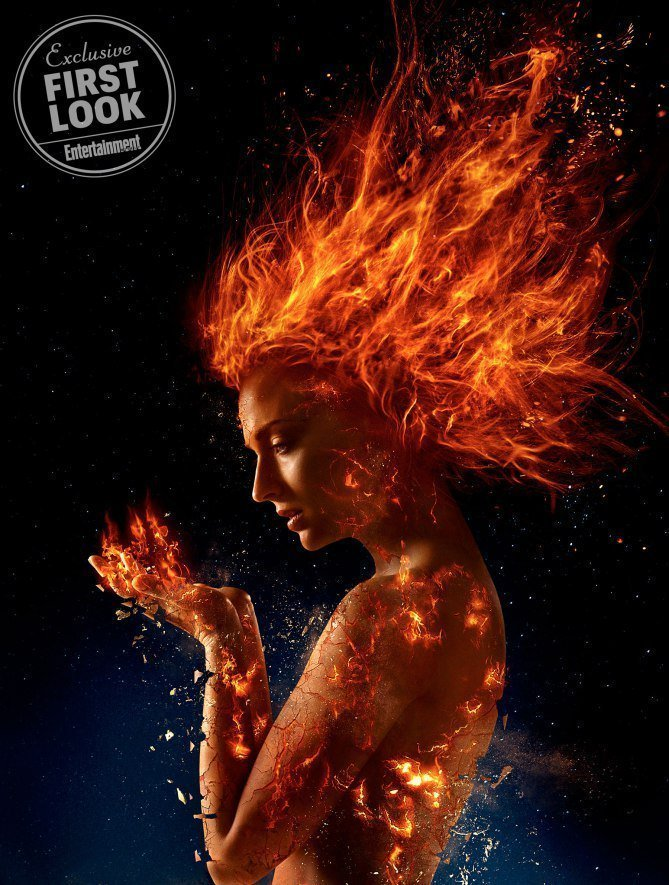 Photo du film X-Men: Dark Phoenix avec Sophie Turner en feu