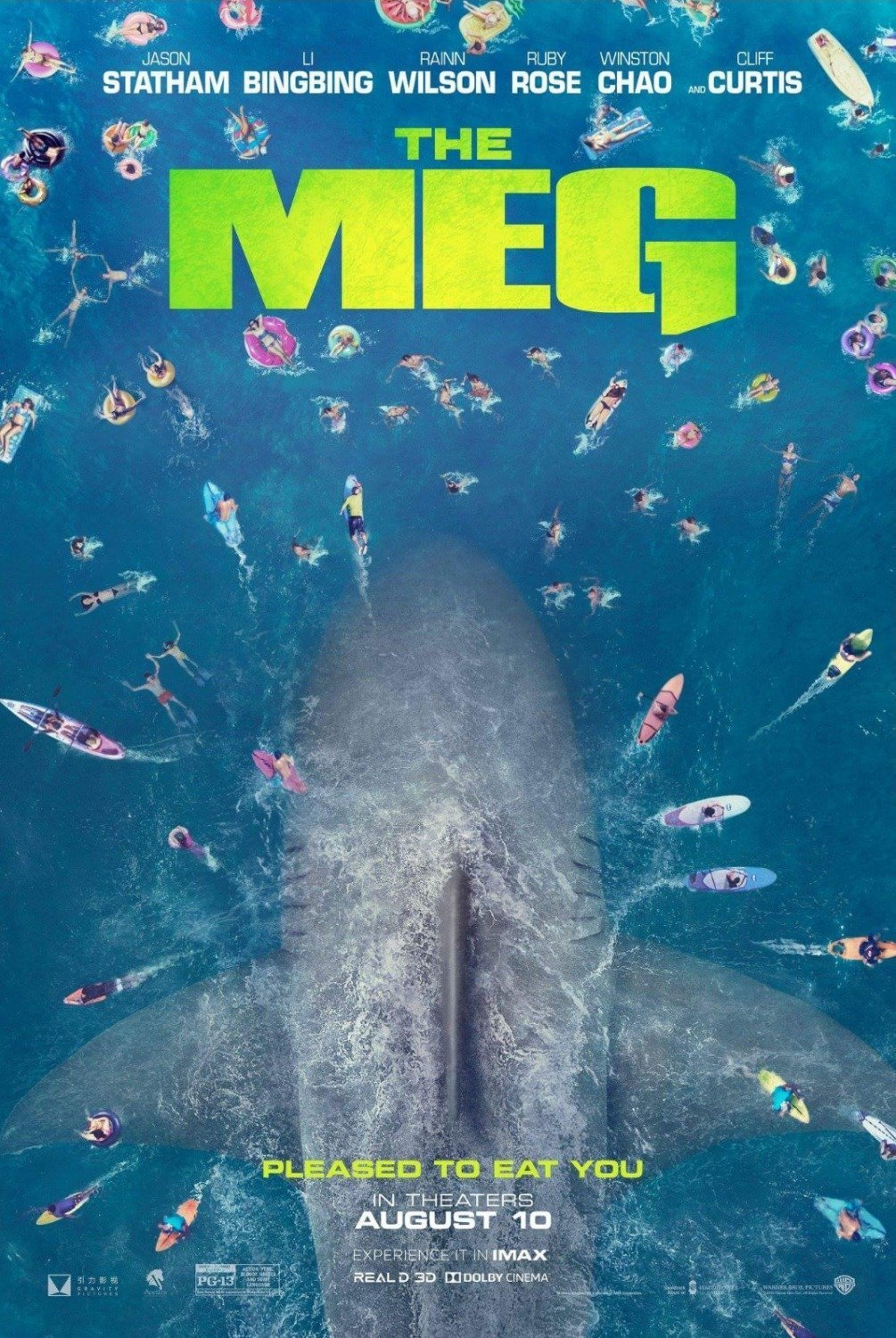 "Poster du film Poster : En Eaux Troubles (The Meg) réalisé par Jon Turteltaub avec la tagline ""Pleased to eat you"""