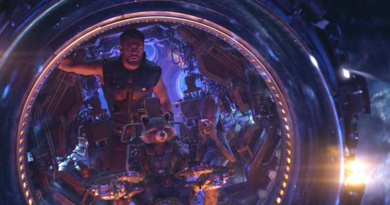 Photo du film Avengers: Infinity War avec Thor, Rocket et Groot