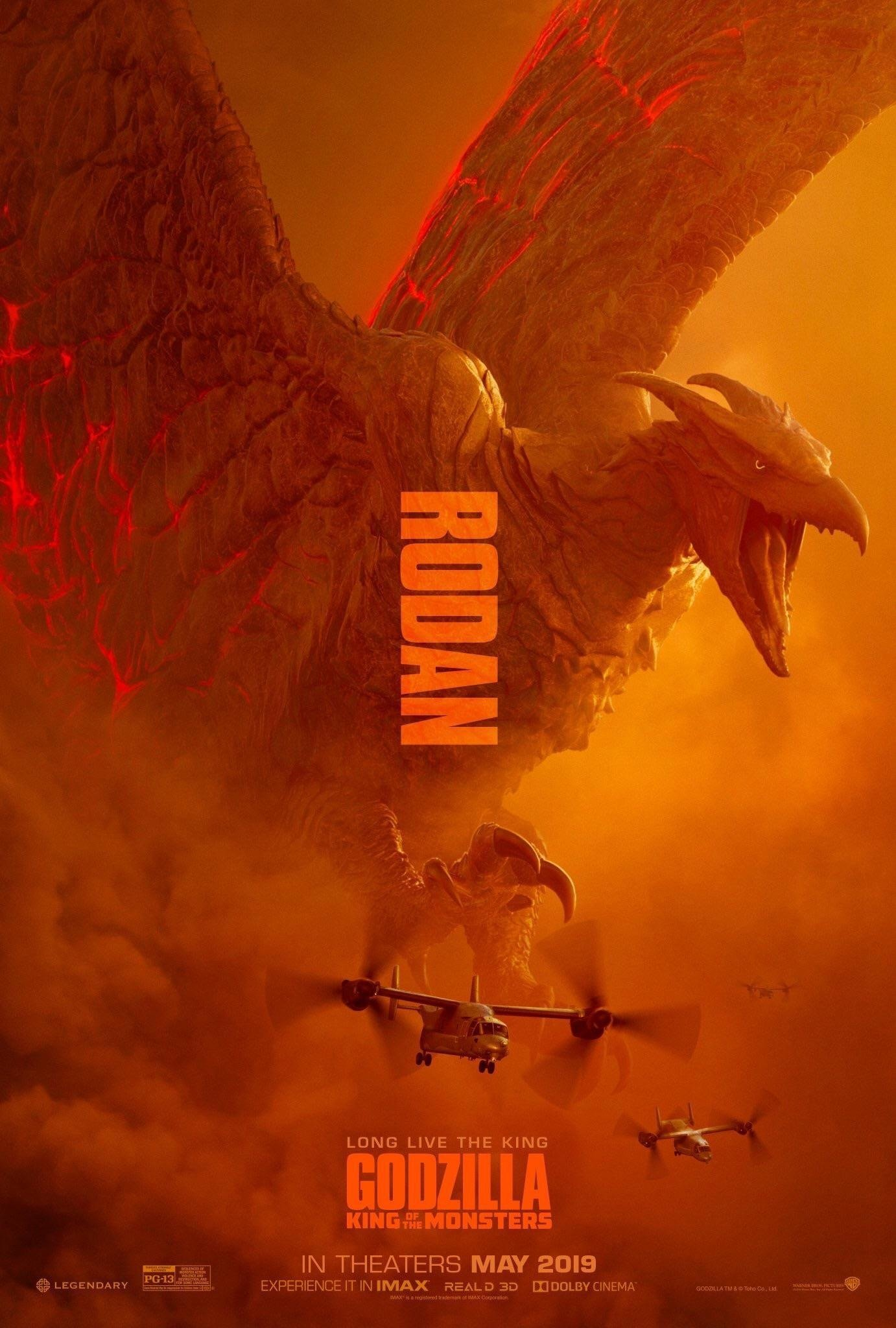 Poster du film Godzilla: King of the Monsters avec le Kaijū Rodan