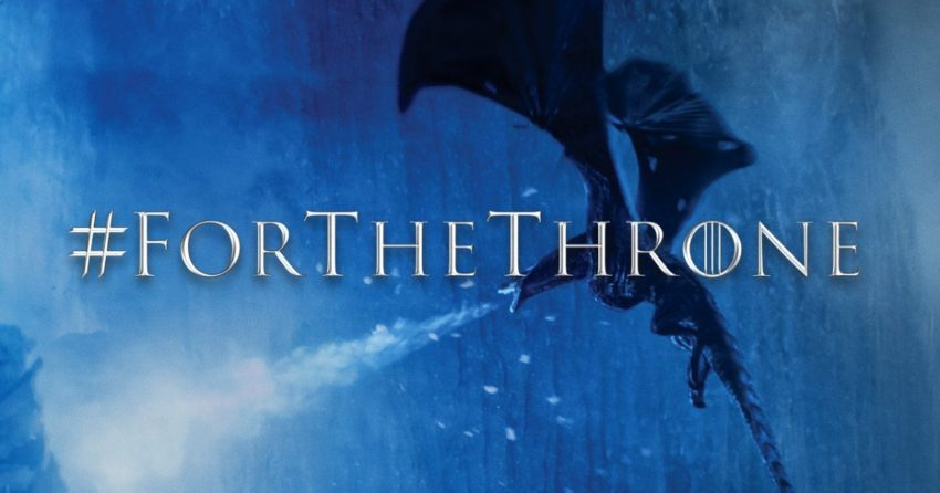 Photo de la septième saison de Game of Thrones avec le hashtag #ForTheThrone