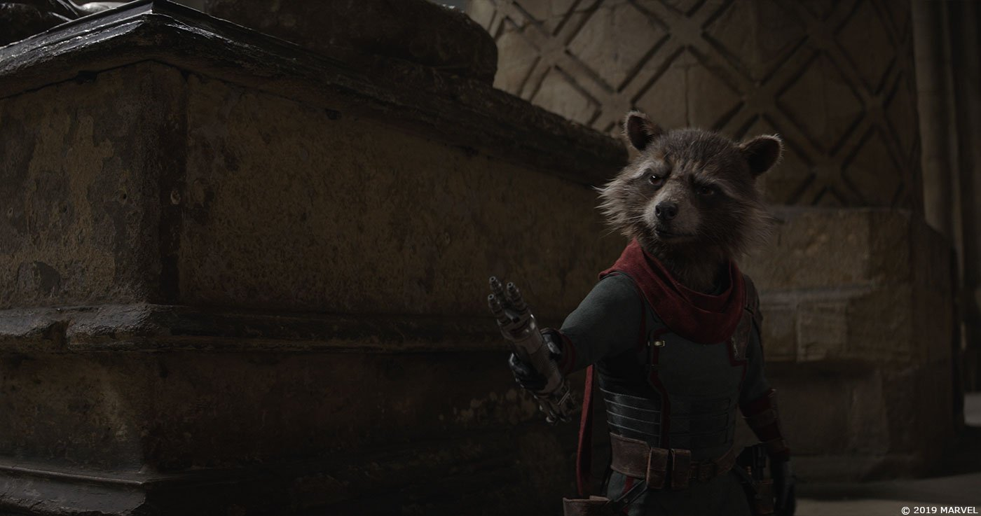 Photo du film Avengers: Endgame avec Rocket et la Pierre en 2013
