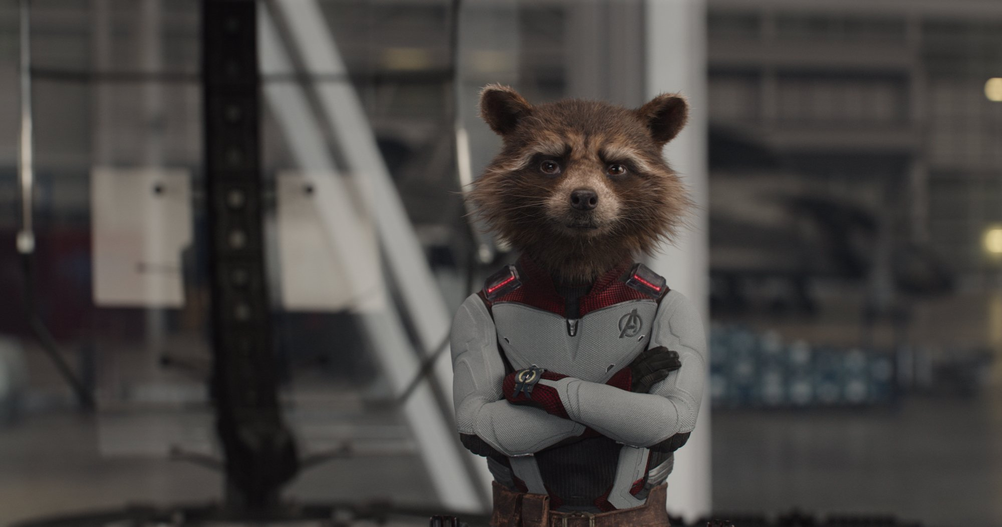 Photo du film Avengers: Endgame avec Rocket Raccoon en costume de chrononaute