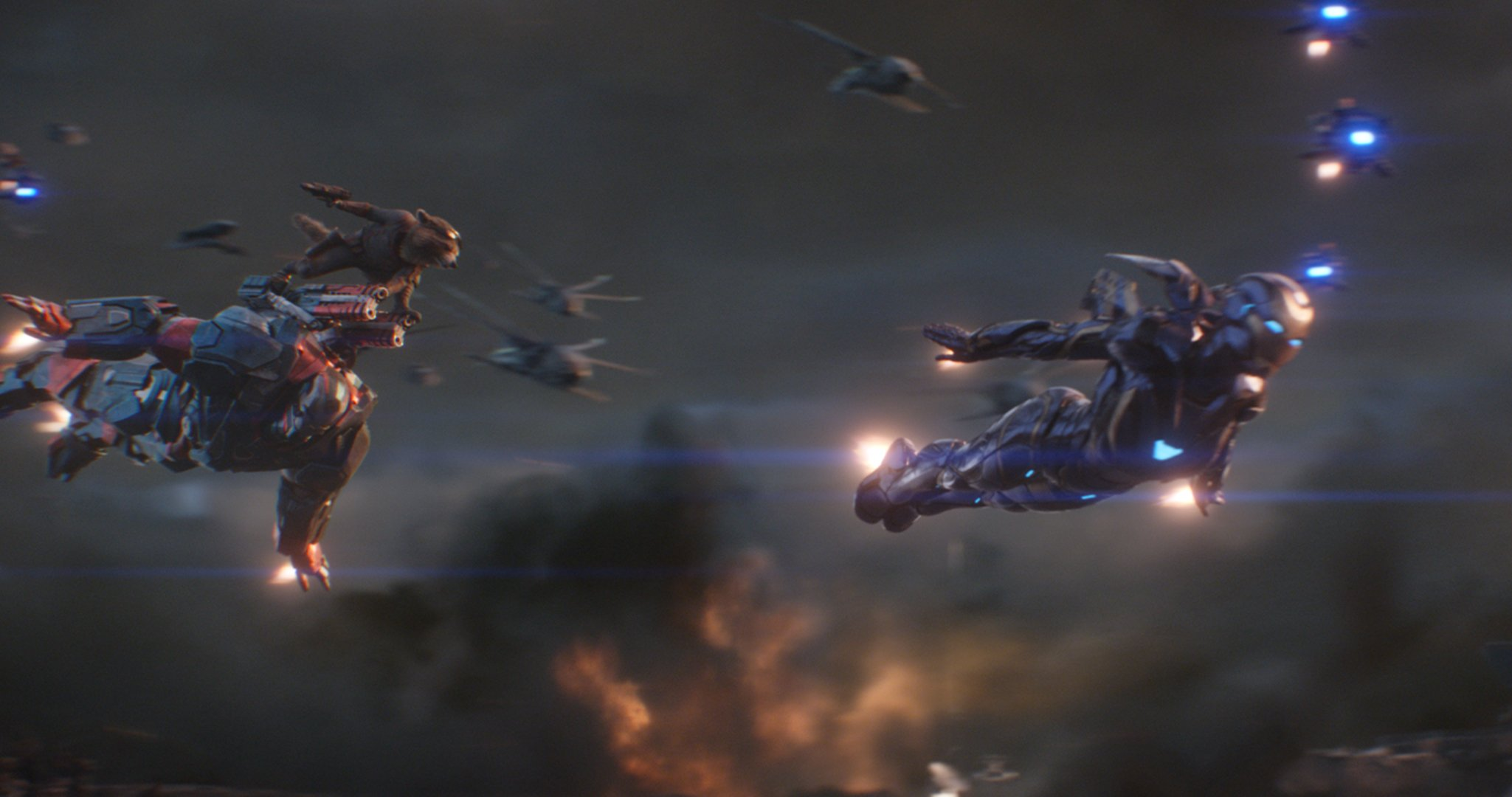 Photo du film Avengers: Endgame avec War Machine, Rocket et Rescue