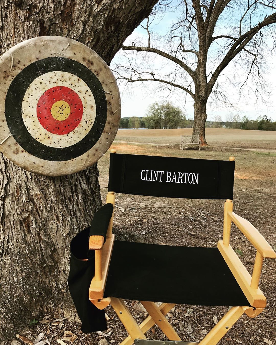 Photo du tournage du film Avengers: Endgame avec la chaise de Clint Barton