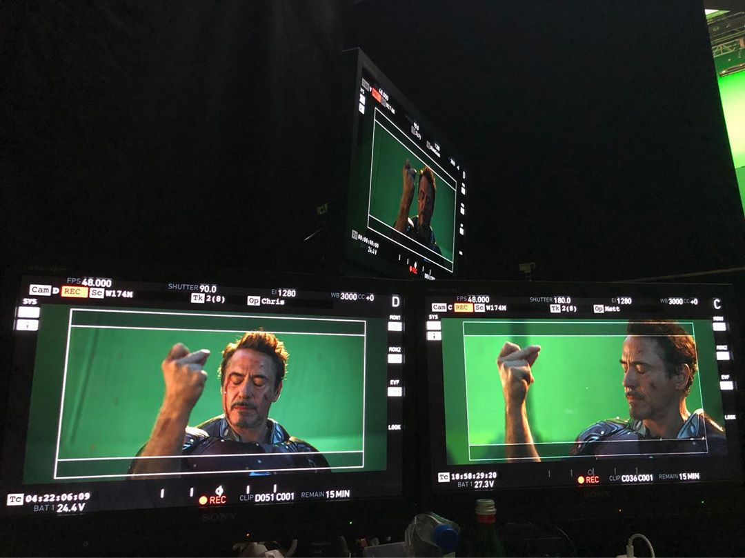 Sixième photo du tournage du film Avengers: Endgame avec le snap de Robert Downey Jr. (Tony Stark / Iron Man)