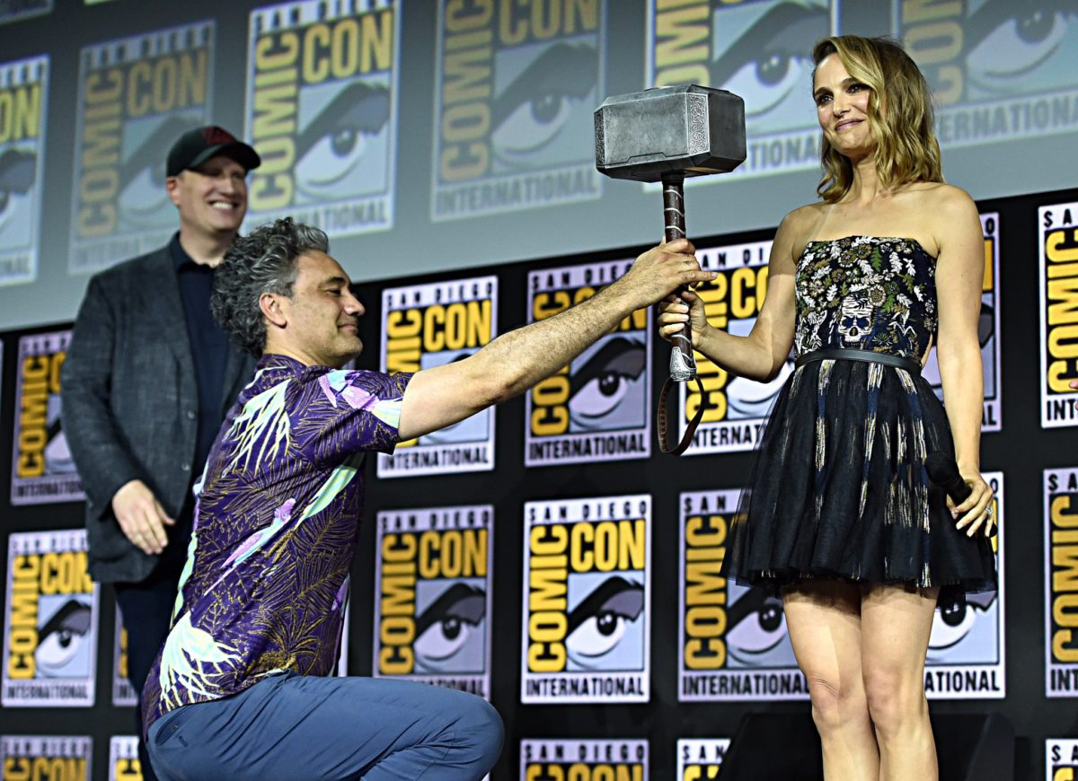 Photo du panel Marvel Studios à la Comic-Con 2019 pour le film Thor: Love and Thunder avec Natalie Portman digne