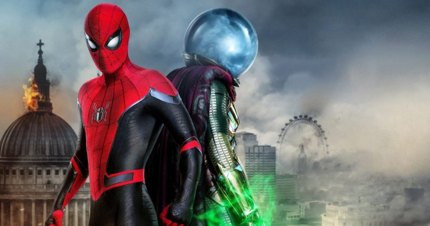 Bannière du film Spider-Man: Far From Home avec Spider-Man et Mystério