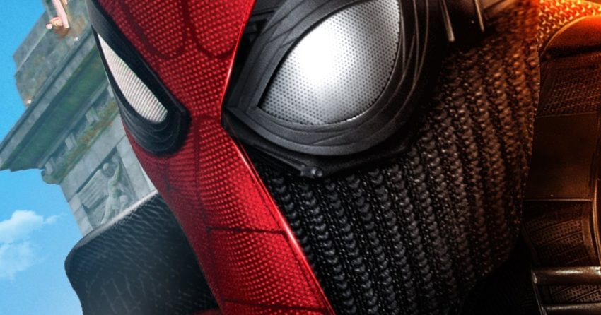 Poster sans texte du film Spider-Man: Far From Home avec les deux costumes de Spider-Man