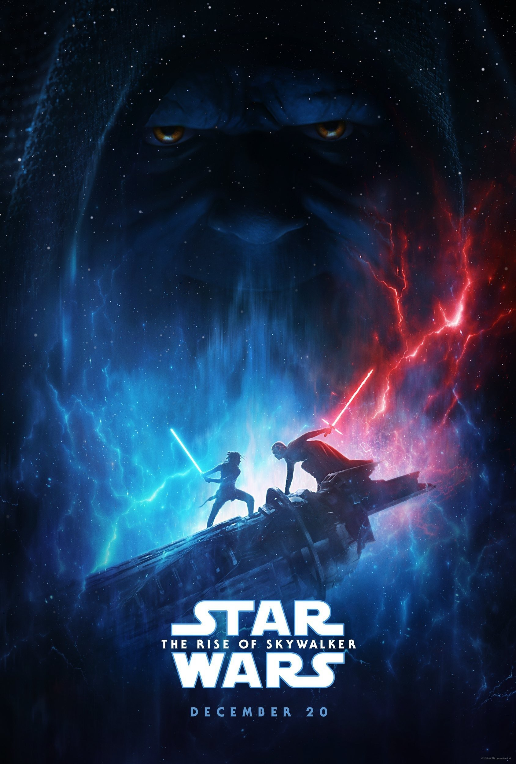 Premier poster pour le film Star Wars: L'Ascension de Skywalker (Star Wars: The Rise of Skywalker en VO) avec Rey, Kylo Ren et l'Empereur Palpatine