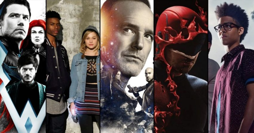 Image de certaines séries de Marvel Television, de gauche à droite : Inhumans, Cloak & Dagger, Agents of SHIELD, Daredevil et Runaways