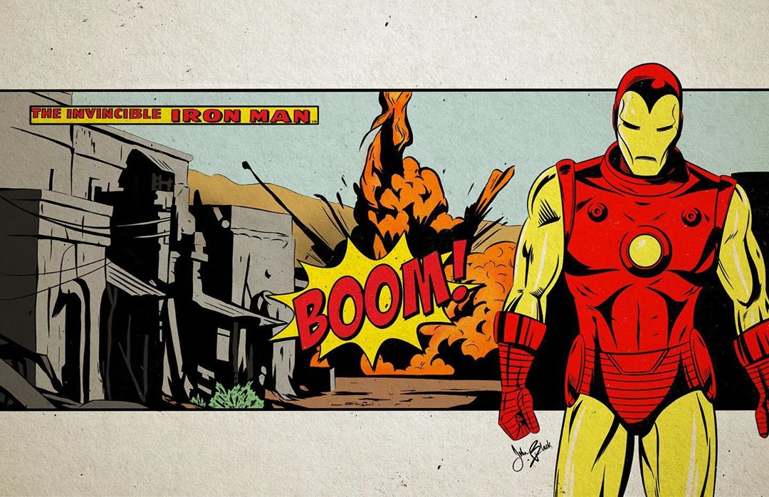 Plan culte du film Marvel, Iron Man, revisité par John Black