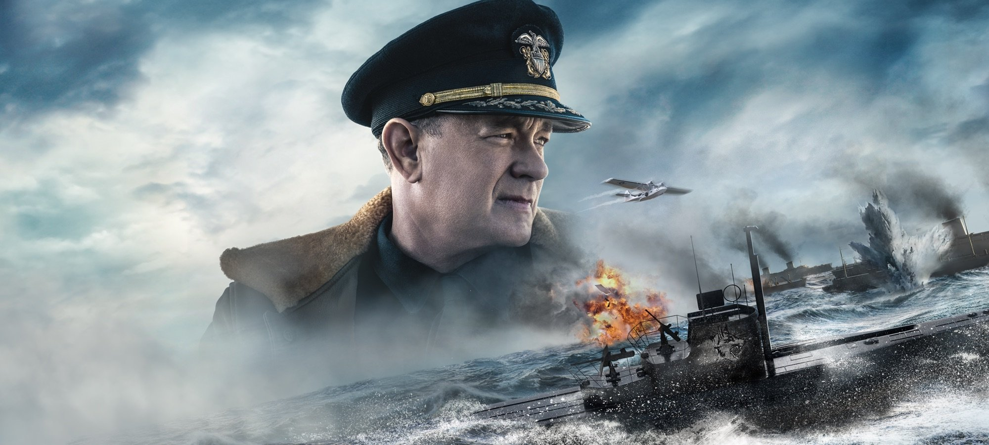 Bannière du film USS Greyhound: La bataille de l'Atlantique avec Tom Hanks